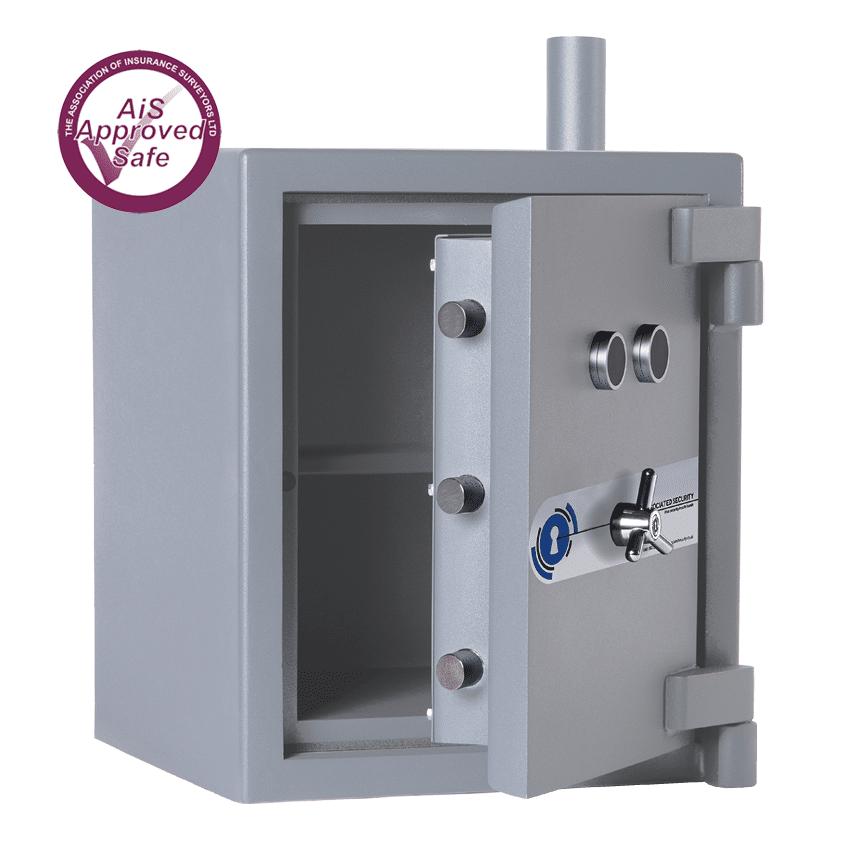 AS-2020-AiS-Insurance-Approved-Associated Security Airtube Deposit Safe - Door Open - Deposit Safe - Cash Safe - Commercial Safe