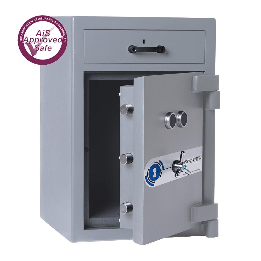 AS-2020-AiS-Insurance-Approved-Associated Security Drawer Trap Deposit Safe - Door Open - Deposit Safe - Cash Safe - Commercial Safe