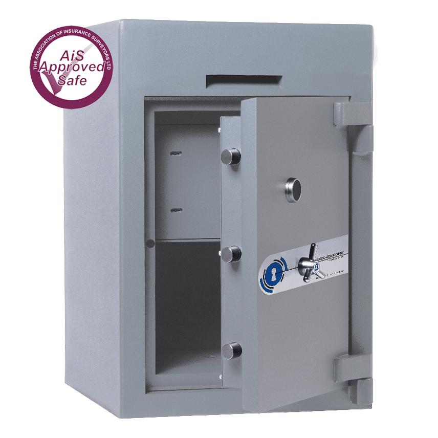 AS-2020-AiS-Insurance-Approved-Associated Security Envelope Deposit Safe - Door Open - Deposit Safe - Cash Safe - Commercial Safe