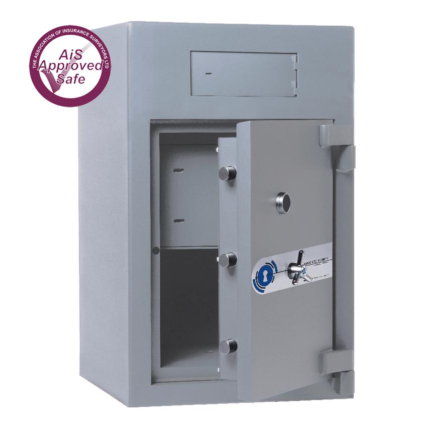 AS-2020-AiS-Insurance-Approved-Associated Security Rotunda Deposit Safe - Door Open - Deposit Safe - Cash Safe - Commercial Safe