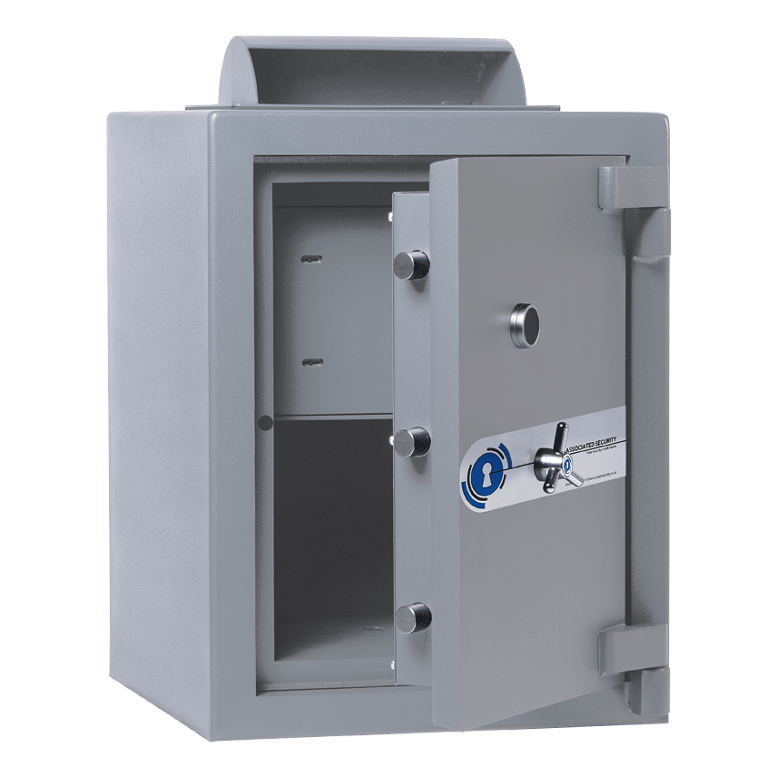 Associated Security Rotary Deposit Safe - Door Open - Deposit Safe - Cash Safe - Commercial Safe